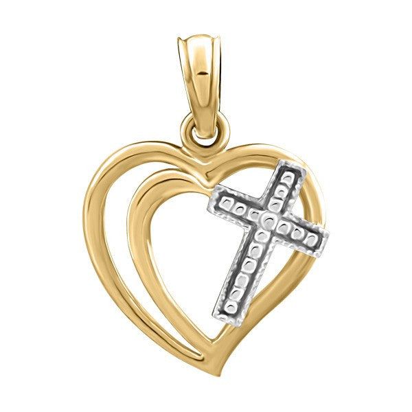 TWO TONE GOLD HEART AND CROSS PENDANT PEN-GLD-2285