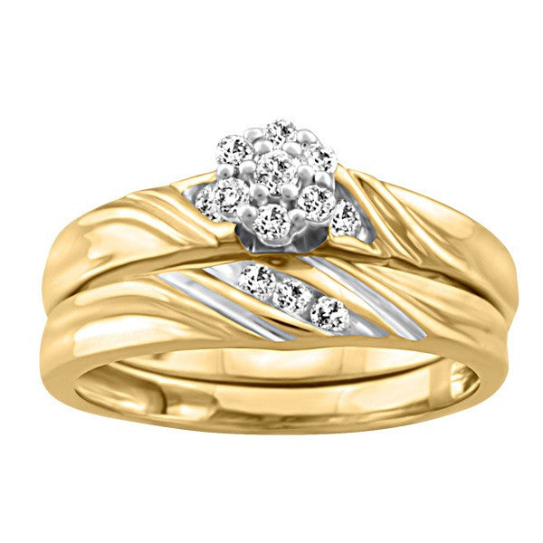 GOLD DIAMOND ENGAGEMENT SET RIN-ENG-2558