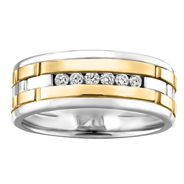 TWO TONE GOLD DIAMOND WEDDING BAND RIN-LWB-0150