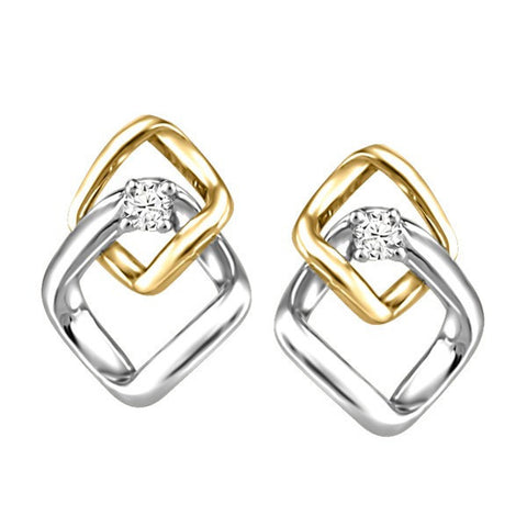 TWO TONE GOLD GLACIER ICE CANADIAN DIAMOND EARRINGS