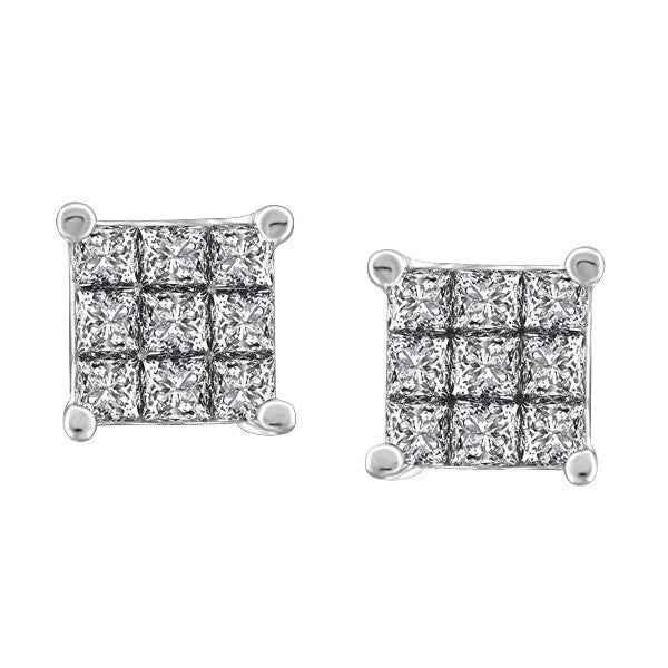 WHITE GOLD 1.00 CARAT DIAMOND EARRINGS