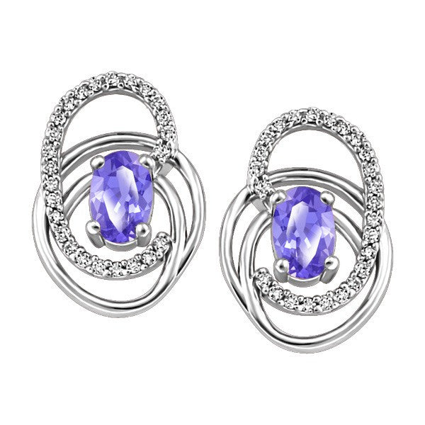 WHITE GOLD DIAMOND AND TANZANITE EARRINGS