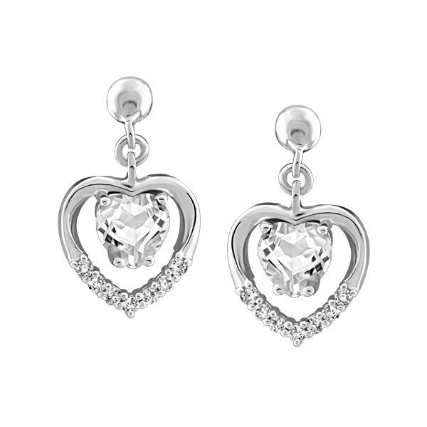SILVER AND CZ HEART EARRINGS