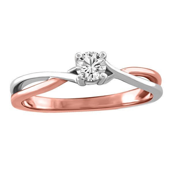 White and Rose Gold Fire of the North Canadian Diamond Engagement