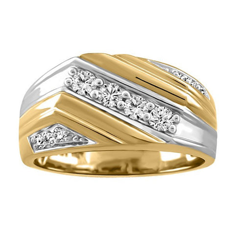 MENS TWO TONE GOLD GLACIER ICE CANADIAN DIAMOND RING