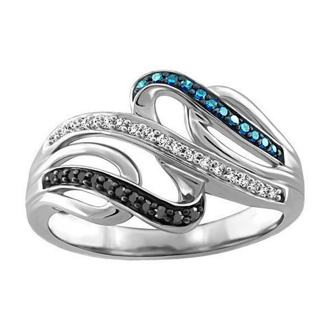 SILVER BLUE DIAMOND RING
