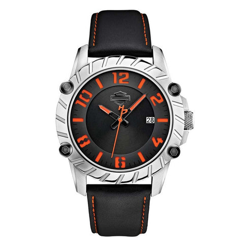 Bulova Men's Harley Davidson Black & Orange Leather Wrist Watch
