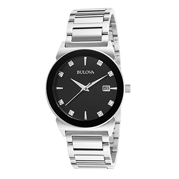 Bulova Men's Diamond Silver Stainless-Steel Watch