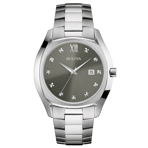 Bulova Men's Diamond Three-Hand Stainless Steel Watch