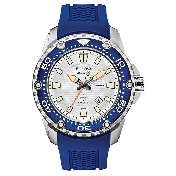 Bulova Men's Sport Blue Rubber Automatic Watch