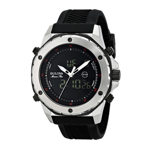 Bulova Men's Marine Star Black Rubber Strap Watch