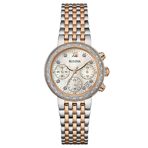 Bulova Women's Rose and Silver Tone Diamond Collection Watch