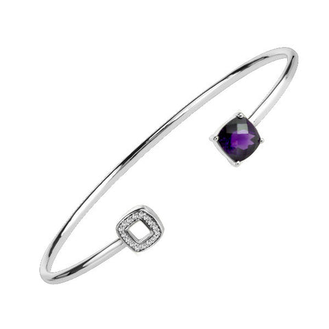 Silver Diamond And Amethyst Bangle