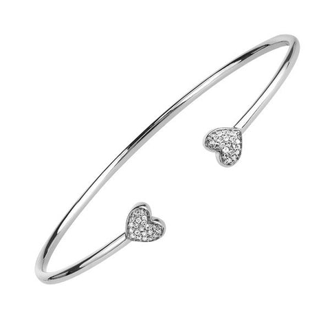 Silver Diamond Heart Bangle