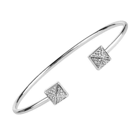 Silver Diamond Square Bangle