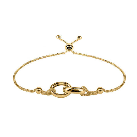 Adjustable Gold Interlocked Ring Bracelet