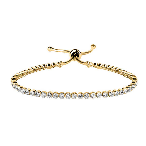 Adjustable Gold Tone And Cz Bracelet