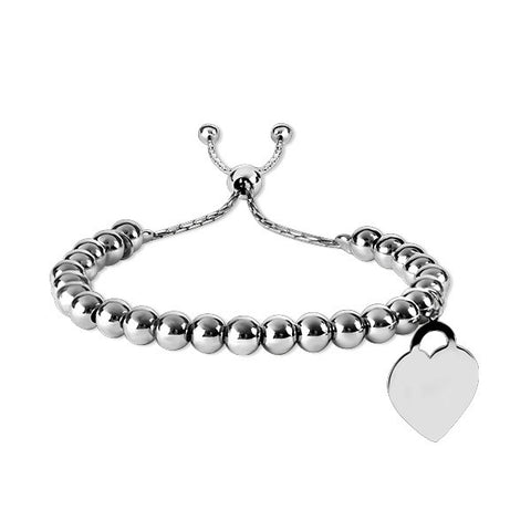 Adjustable Silver Heart Bracelet