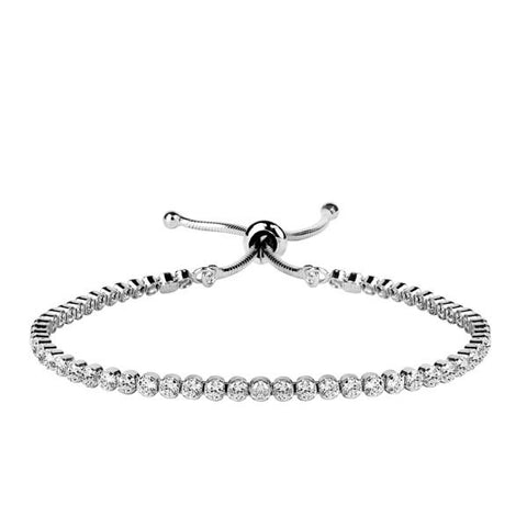 Adjustable Silver Cz Bracelet