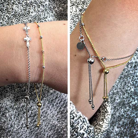 Adjustable Tri Gold Bracelet