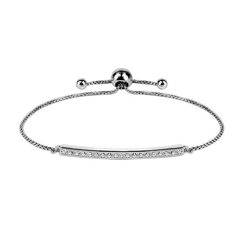 Adjustable Silver and CZ Bracelet