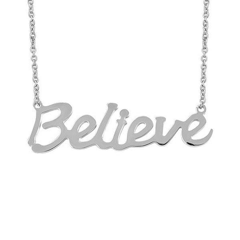 Stainless Steel BELIEVE Necklace: Gift With Purchase