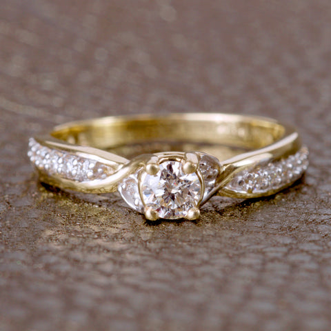 Glacier Ice Yellow Gold Round Brilliant Canadian Diamond Engagement Ring