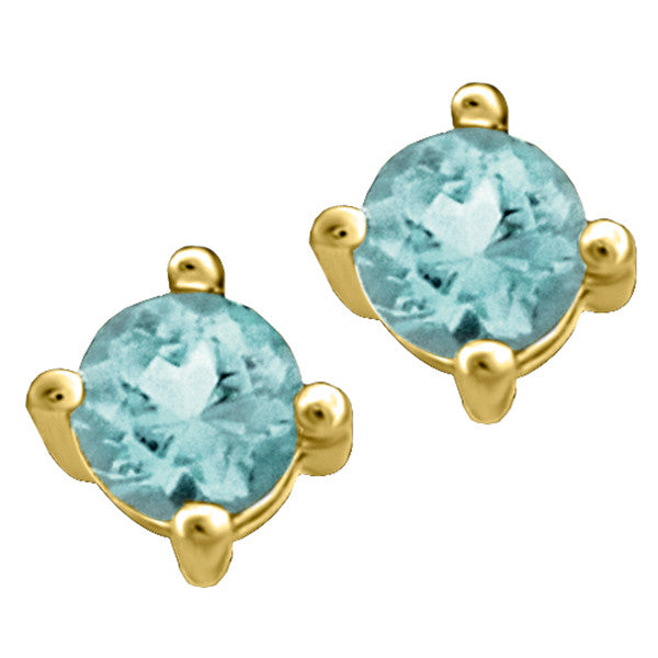 Gold Aquamarine Stud Earrings