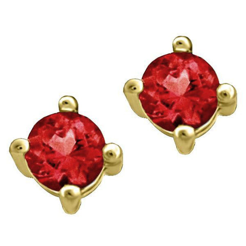 Gold Ruby Stud Earrings