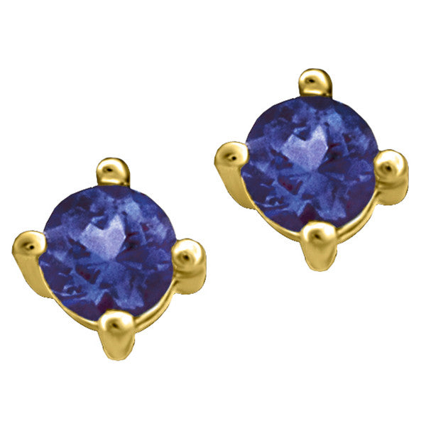 Gold Sapphire Stud Earrings