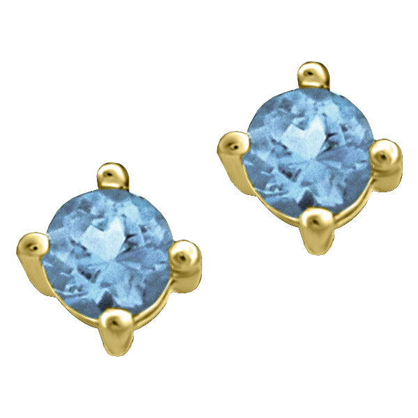 Gold Blue Topaz Stud Earrings