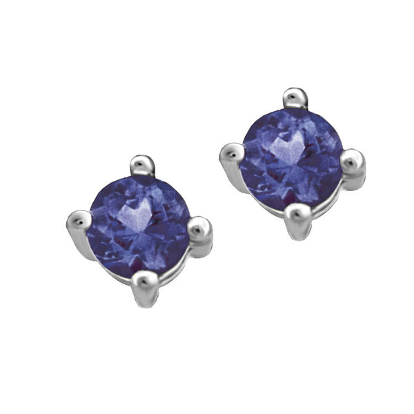 White Gold Sapphire Stud Earrings
