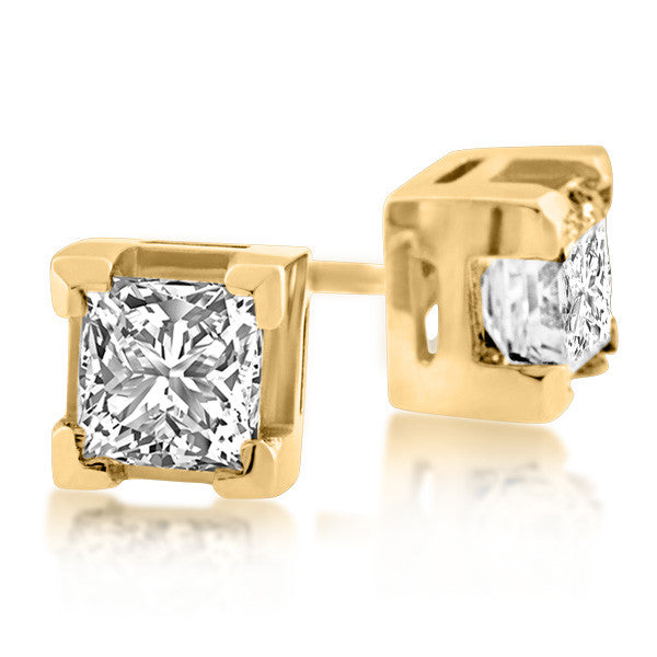 Gold 1.00 Carat Canadian Diamond Stud Earrings