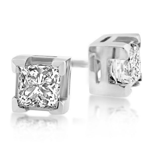 White Gold 1.00 Carat Canadian Diamond Stud Earrings