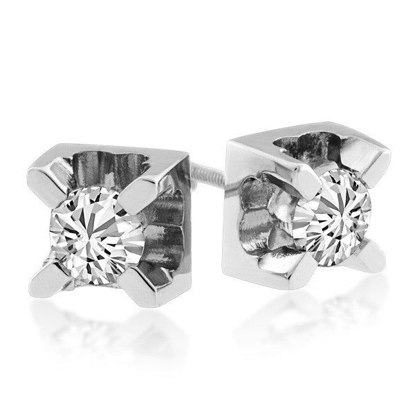 White Gold 0.50 Carat Canadian Diamond Stud Earrings