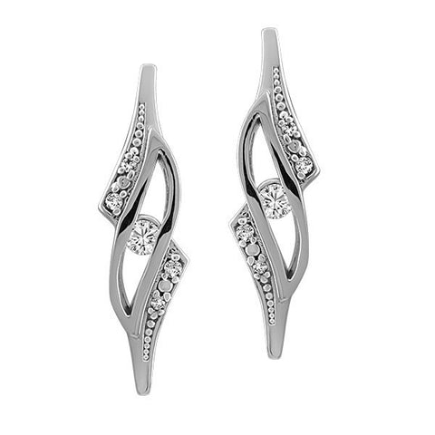 White Gold Fire of the North Canadian Diamond Earrings