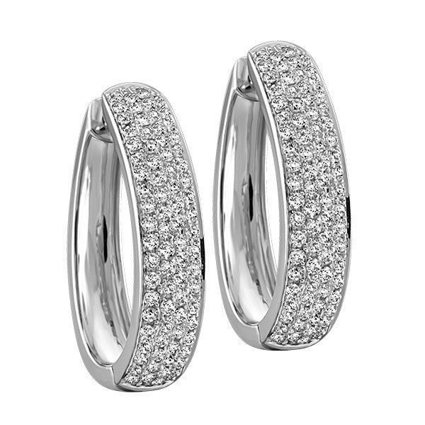 White Gold 1 Carat Pave Set Diamond Earrings