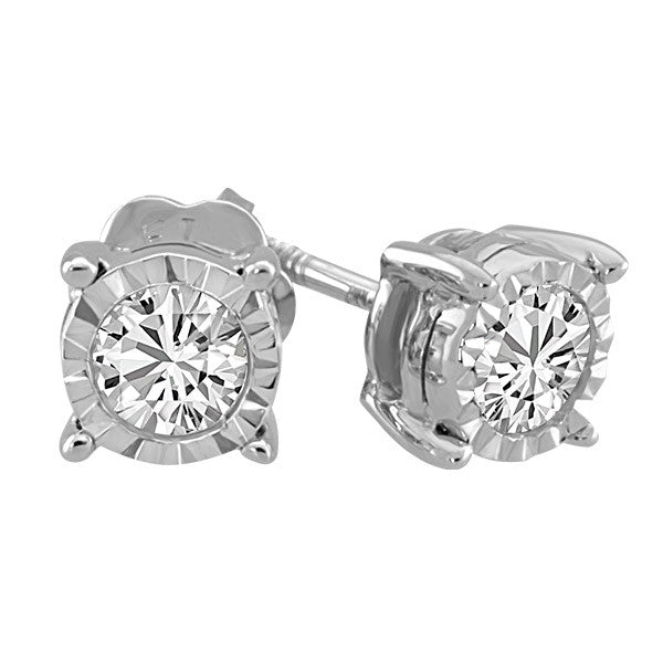 White Gold .10 Carat Illusion Set Stud Earrings