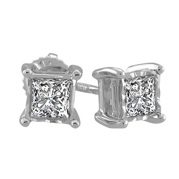 White Gold .10 Carat Princess Cut Stud Earrings
