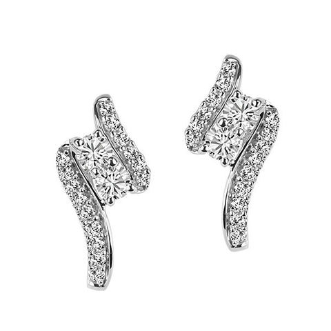 Two True White Gold Diamond Earrings