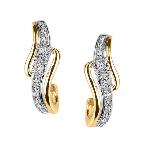 Two True Two Tone Gold Diamond Earrings