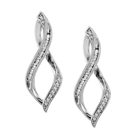 10kt White Gold Twisted Diamond Hoop Earrings