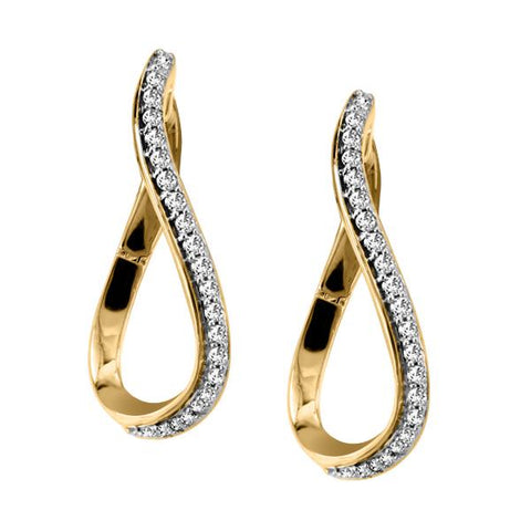 10kt Yellow Gold Round Brilliant Diamond Twisted Hoop Earrings