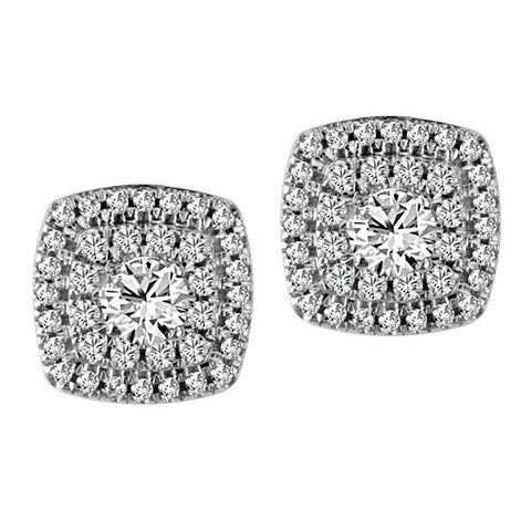 10kt White Gold Round Brilliant Diamond Halo Earrings