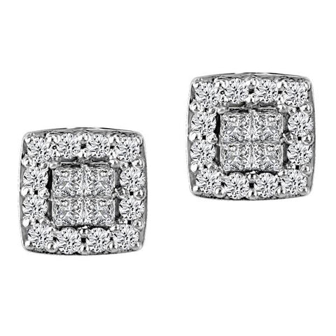 10kt White Gold Inv. Set Pc Round Brilliant Diamond Halo Earrings