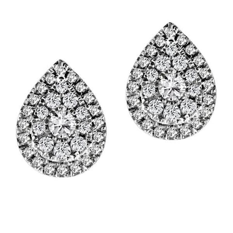 14kt White Gold Round Brilliant Diamond Earrings