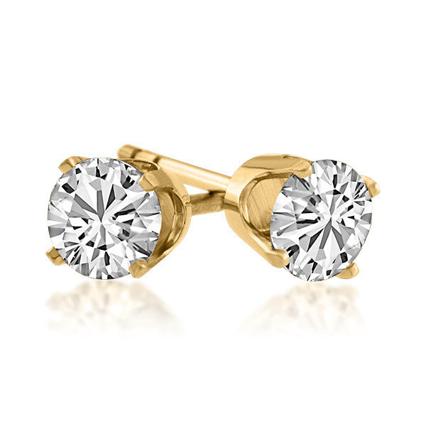 Gold 0.50 Carat CZ Stud Earrings