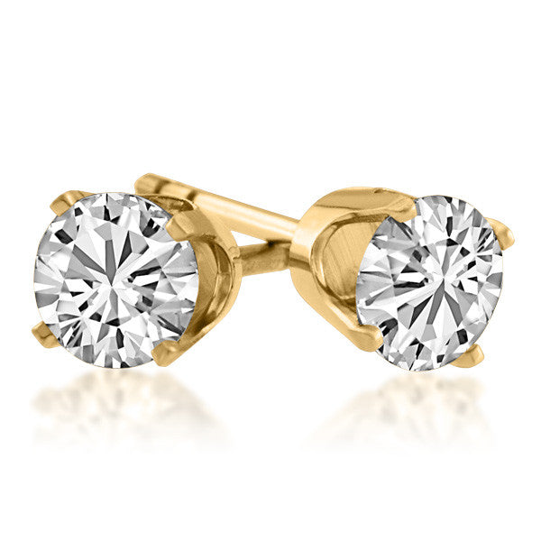 Gold 0.75 Carat Diamond Stud Earrings