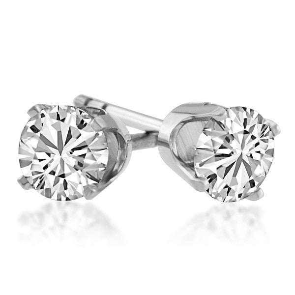 White Gold 1.00 Carat Diamond Stud Earrings