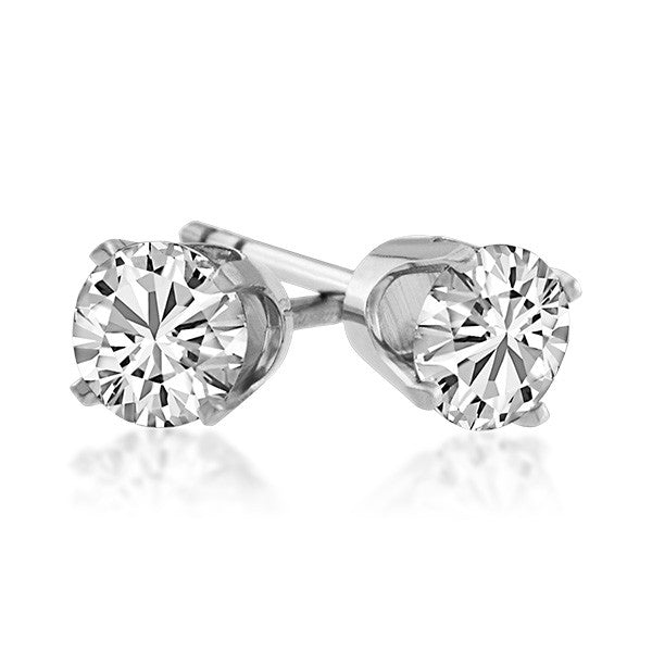 White Gold 0.25 Carat CZ Stud Earrings